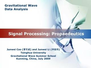 Signal Processing: Propaedeutics