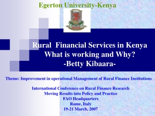 International Conference on Rural Finance Research Moving Results into Policy and Practice