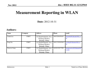 Measurement Reporting in WLAN