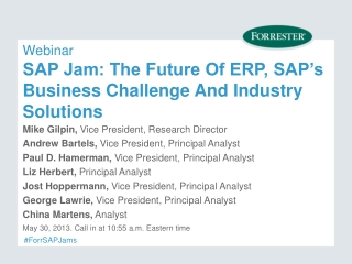 Webinar SAP Jam: The Future Of ERP, SAP's Business Challenge And Industry Solutions