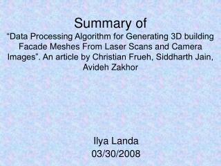 Ilya Landa 03/30/2008