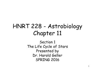HNRT 228 - Astrobiology Chapter 11