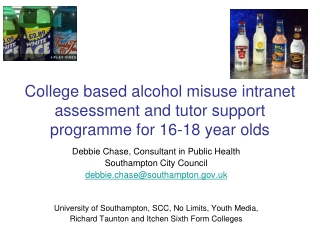 College based alcohol misuse intranet assessment and tutor support programme for 16-18 year olds