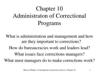 Chapter 10  Administraton of Correctional Programs