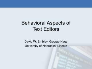 Behavioral Aspects of  Text Editors