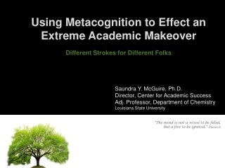 Using Metacognition to Effect an Extreme Academic Makeover Different Strokes for Different Folks