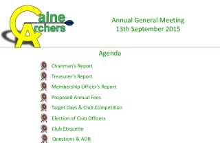 Annual General Meeting  13th September 2015