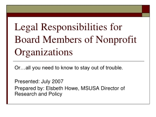 Legal Responsibilities for Board Members of Nonprofit Organizations