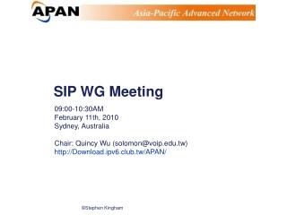 SIP WG Meeting