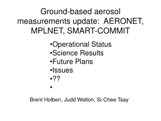 Ground-based aerosol measurements update:  AERONET, MPLNET, SMART-COMMIT
