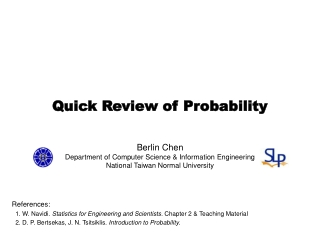 Quick Review of Probability