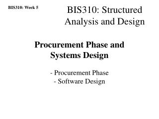 Procurement Phase and  Systems Design