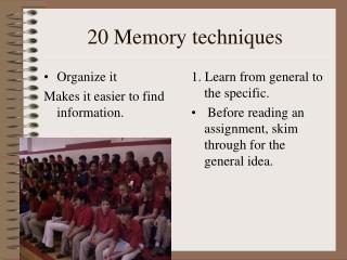 20 Memory techniques