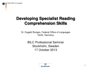 Developing Specialist Reading Comprehension Skills