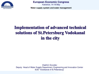 Implementation of advanced technical solutions of St.Petersburg Vodokanal  in the city