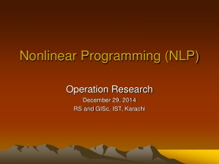 Nonlinear Programming (NLP)