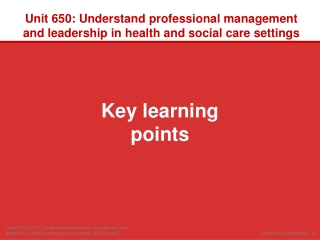 Unit  650: Understand professional management and leadership in health and social care settings