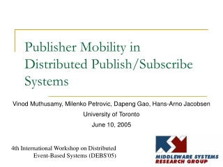Publisher Mobility in Distributed Publish/Subscribe Systems