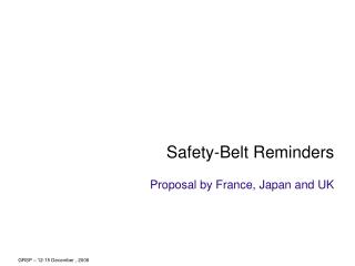 Safety-Belt Reminders