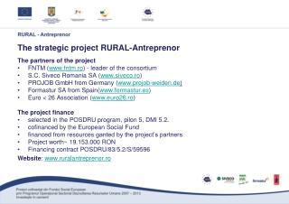 The strategic project  RURAL-Antreprenor