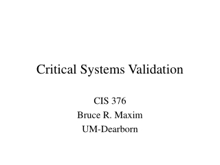 Critical Systems Validation