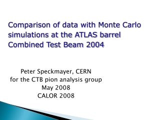 Peter Speckmayer, CERN for the CTB pion analysis group May 2008 CALOR 2008