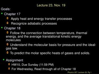 Lecture 23, Nov. 19
