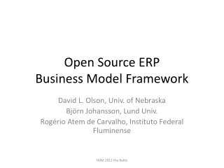 Open Source ERP  Business Model Framework