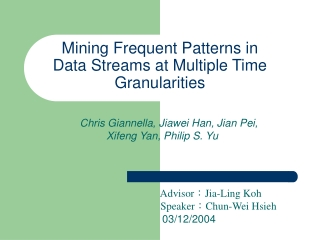 Mining Frequent Patterns in Data Streams at Multiple Time Granularities