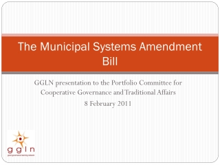 The Municipal Systems Amendment Bill