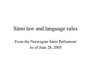 Sámi law and language rules