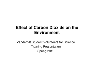 Effect of Carbon Dioxide on the  Environment