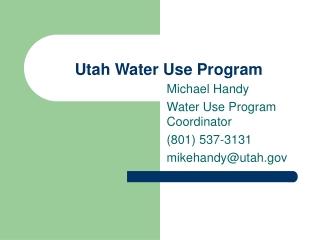 Utah Water Use Program
