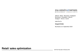 Retail/ sales optimization