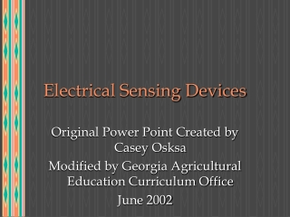 Electrical Sensing Devices