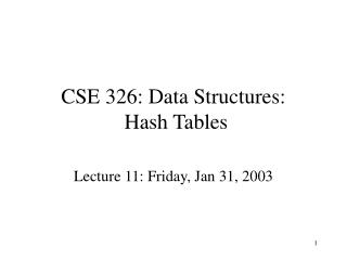 CSE 326: Data Structures:  Hash Tables
