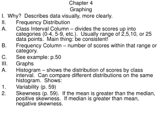 Chapter 4 Graphing I.  Why?  Describes data visually, more clearly.   Frequency Distribution
