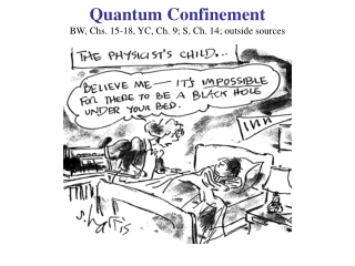 Quantum Confinement BW, Chs. 15-18, YC, Ch. 9; S, Ch. 14; outside sources