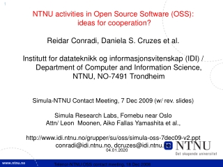 NTNU activities in Open Source Software (OSS):  ideas for cooperation?
