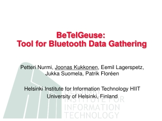 BeTelGeuse:  Tool for Bluetooth Data Gathering