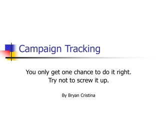 Campaign Tracking