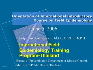 Orientation of International Introductory Course on Field Epidemiology
