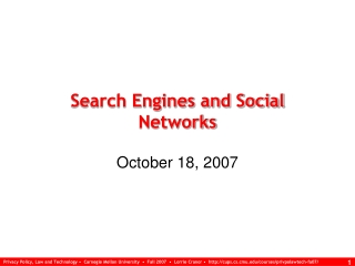 Search Engines and Social Networks