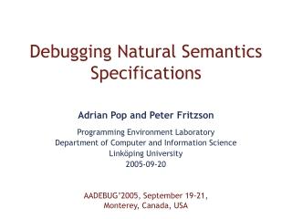 Debugging Natural Semantics Specifications