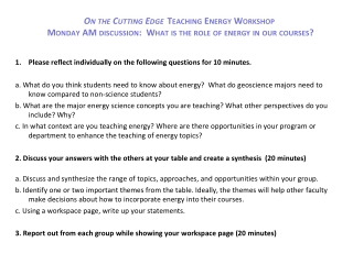 Please reflect individually on the following questions for 10 minutes.