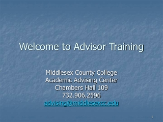 Welcome to Advisor Training