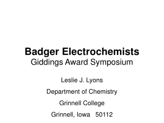 Badger Electrochemists