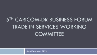 5 th  CARICOM-DR Business Forum Trade in Services working committee