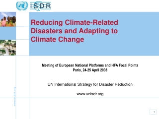 Reducing Climate-Related Disasters and Adapting to Climate Change