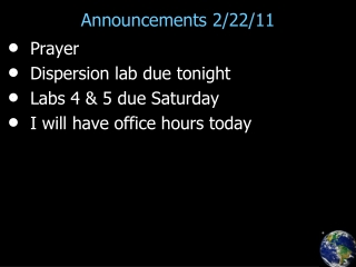 Announcements 2/22/11
